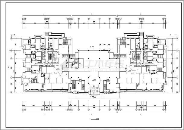 宿迁市安源花苑小区22层框架结构住宅楼平立面设计CAD图纸(含机房层)-图二