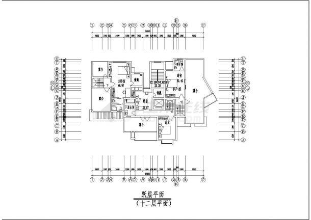 上海市东方花园小区12层框架结构住宅楼平立剖面设计CAD图纸(含机房层)-图一