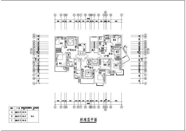 上海市东方花园小区12层框架结构住宅楼平立剖面设计CAD图纸(含机房层)-图二
