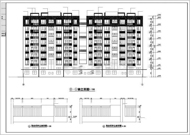 深圳市南山嘉园小区6200平米8层框架结构住宅楼建筑设计CAD图纸-图二