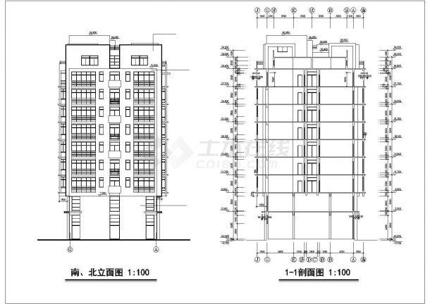 滦州市翡翠庄园小区9层框架结构住宅楼全套建筑设计CAD图纸-图二