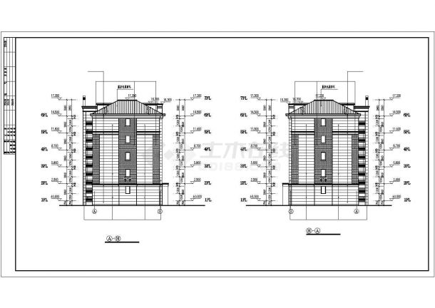 武汉市盛邸花园小区五层框架结构住宅楼建筑设计CAD图纸(含阁楼)-图一