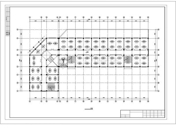 济南市周南路某企业单位5层框架结构办公楼建筑设计CAD图纸-图一