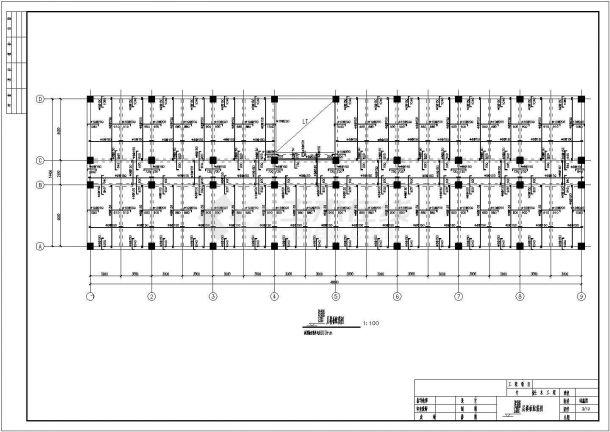 潍坊市某国有单位6层框架结构办公楼全套结构设计CAD图纸-图一
