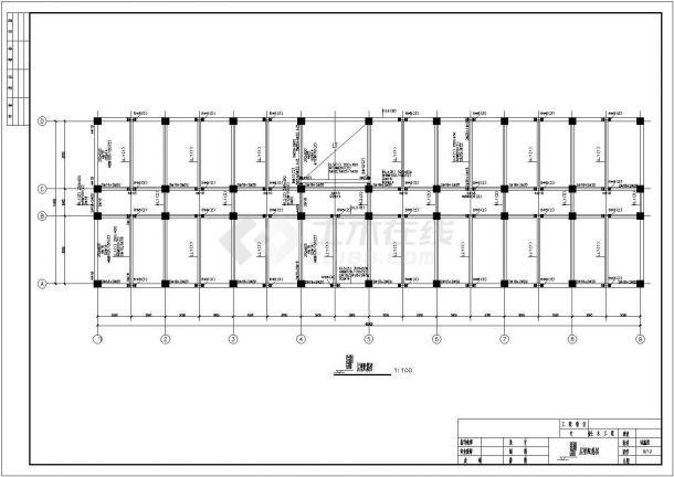 潍坊市某国有单位6层框架结构办公楼全套结构设计CAD图纸-图二