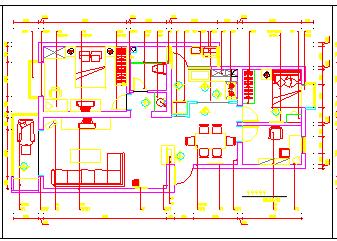 某两居室完整家居室内装饰cad设计施工图-图二