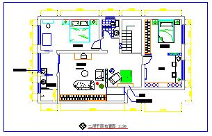 某复式住宅楼室内装修装饰cad设计图纸-图二