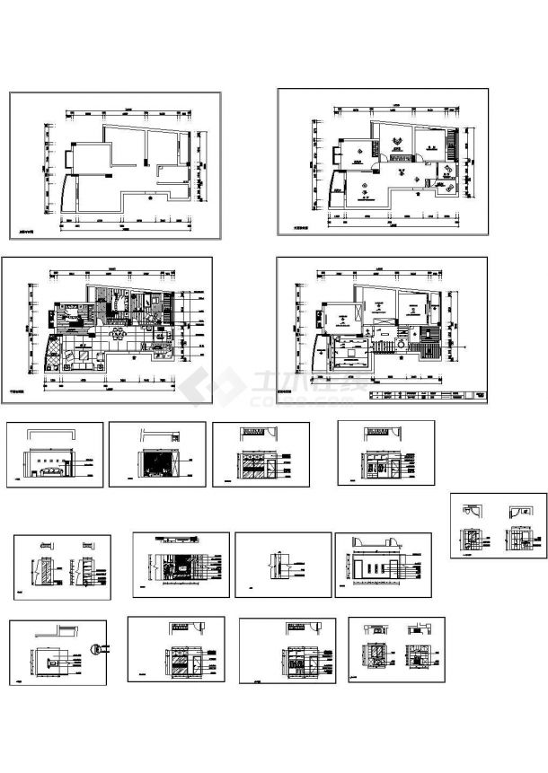 两居现代风格室内设计装修图纸CAD施工图附效果图-图一