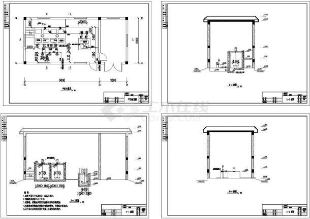 [山西]四万吨污水厂中水回用工艺设计cad图纸,共四张-图二