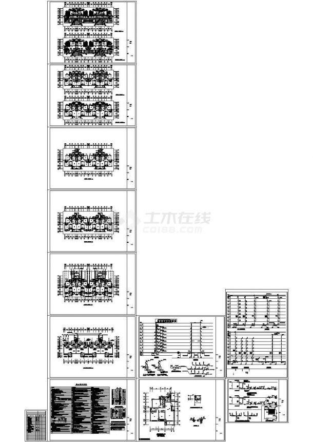某九层框架结构住宅楼给排水设计cad全套施工图(含设计说明)-图一