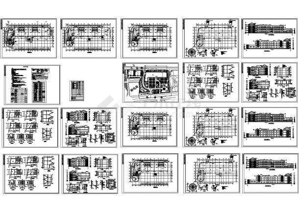 某三层幼儿园教学楼全套建筑施工cad图,共二十张-图一