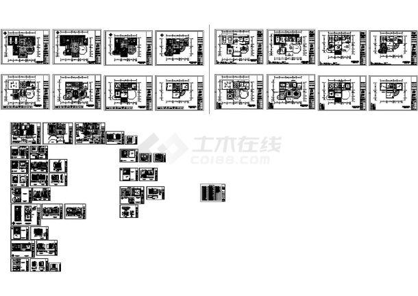四层多活动室别墅室内设计cad图纸-图一