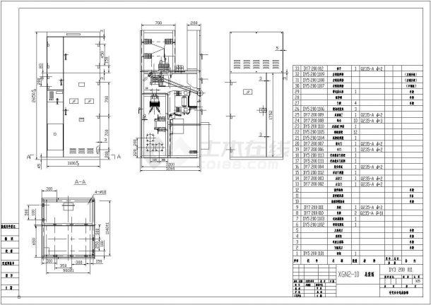 某地XGN2高压开关柜全套cad电气原理图-图一