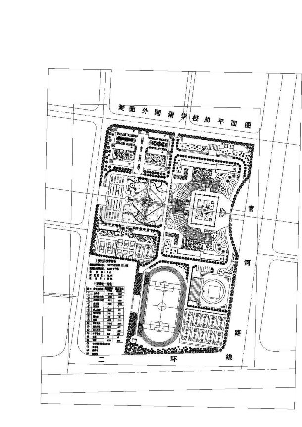 爱德外国语学校总平面规划及景观设计设计图-图二