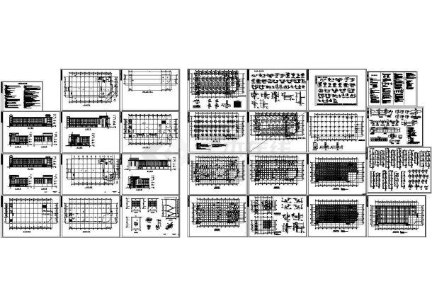 2677.9㎡三层框架办公楼施工组织设计建筑结构CAD图-图一