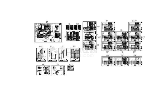 湖北某高层办公楼给排水施工CAD图-图一