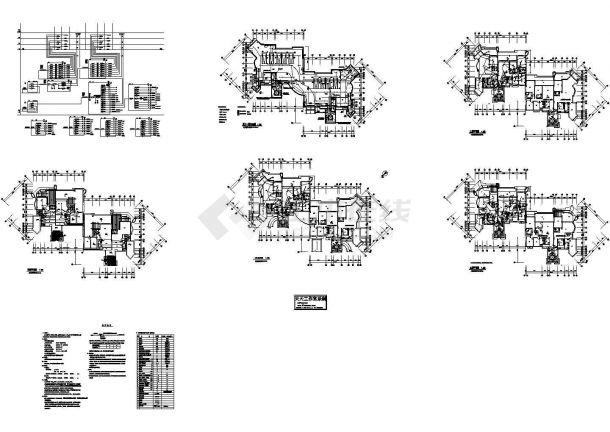 四层框架结构住宅楼电气施工cad图,共九张-图一