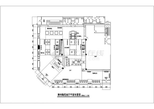江苏省南通市北上海家具城陶瓷展厅装修施工设计CAD图纸-图二