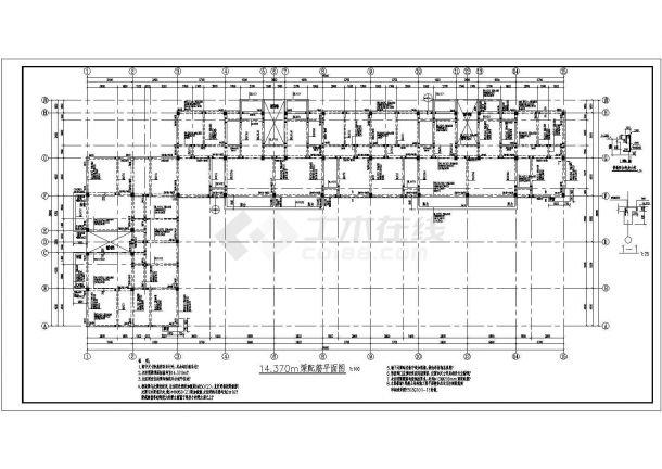 河南省登封市某四层商住两用框架结构施工设计CAD图纸-图一