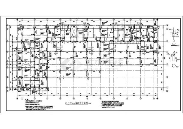 河南省登封市某四层商住两用框架结构施工设计CAD图纸-图二