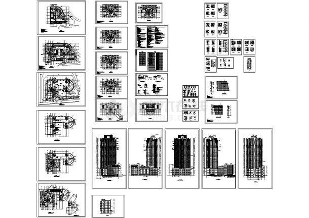 西安32层高层住宅建筑cad图,含示意图-图一