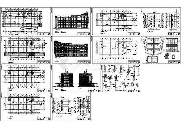 某四层局部五层办公楼建筑施工图,共13张图纸-图一