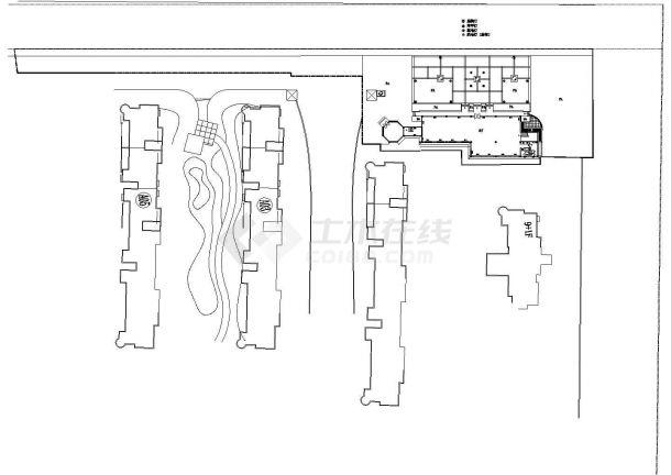 江苏华汇康城居住区售楼处全套施工cad图纸(包含:给排水照明)-图二