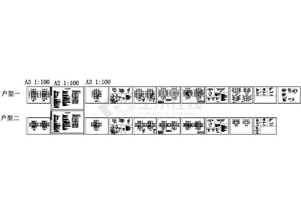 某地二层轻钢别墅设计cad全套结构施工图纸(含设计说明,含两户型设计)-图一