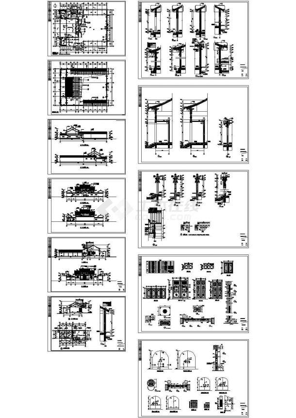 某村单层混凝土框架结构宗祠寺庙建筑结构施工图纸-图一