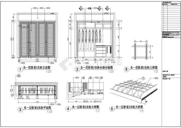某高档卧室四门衣柜装修设计cad施工详图-图一