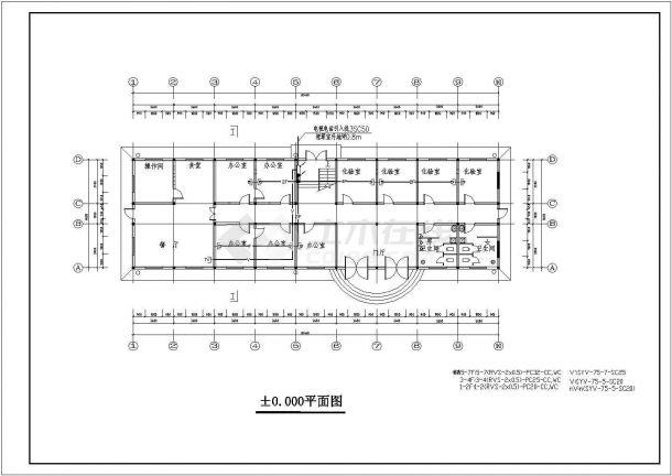某多层框架结构综合办公楼电气设计cad全套施工图(含给排水设计,含设计说明)-图一