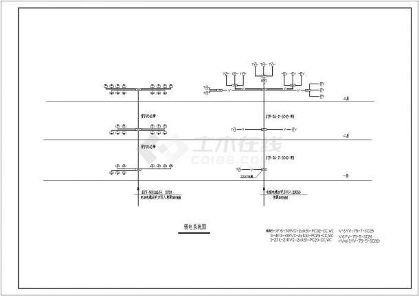 某多层框架结构综合办公楼电气设计cad全套施工图(含给排水设计,含设计说明)-图二