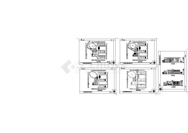 郑阳某小学二层教学楼建筑设计方案cad图纸,共5张-图一