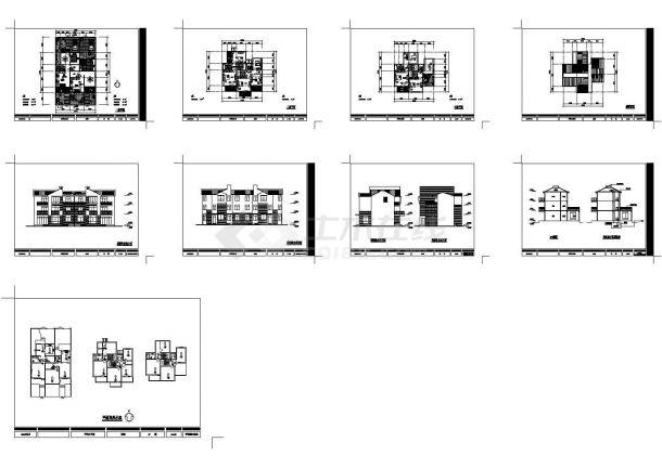 仓集某村三层农宅建筑设计方案cad图纸,共9张-图一