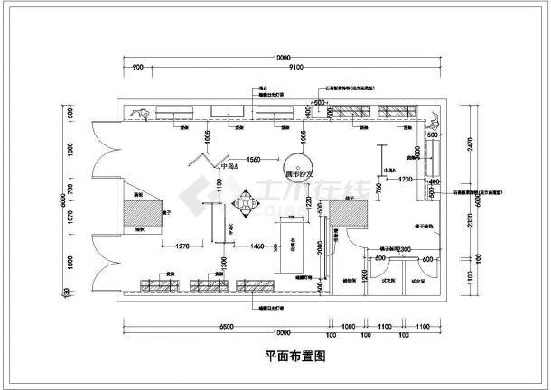 某60平方服装店室内装饰设计cad详细施工图(含效果图)-图二