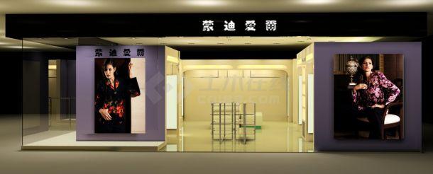 某女士时尚服装专卖店室内装修设计cad详细施工图(带效果图)-图二