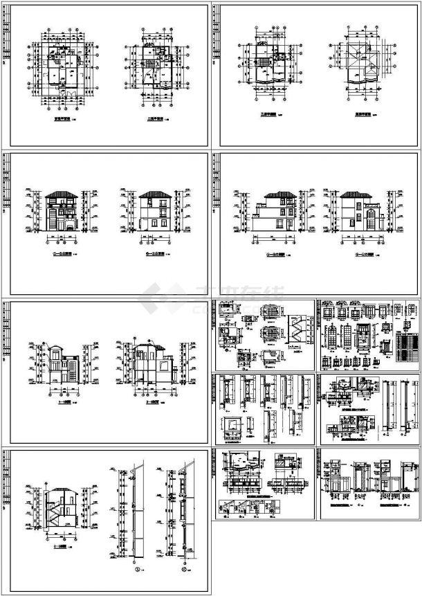 【7套图】某四层砖混结构地中海风格别墅(746㎡)设计cad全套建筑施工图纸(含设计说明,含7套别墅设计)-图一
