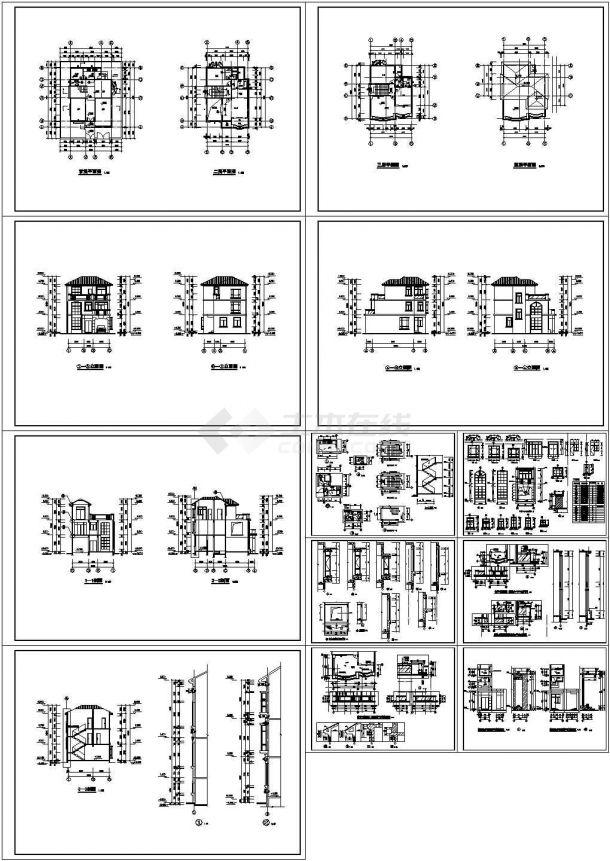 【7套图】某四层砖混结构地中海风格别墅(746㎡)设计cad全套建筑施工图纸(含设计说明,含7套别墅设计)-图二