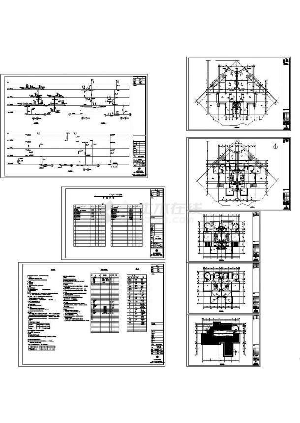 成都某双拼别墅给排水设计图纸-图一