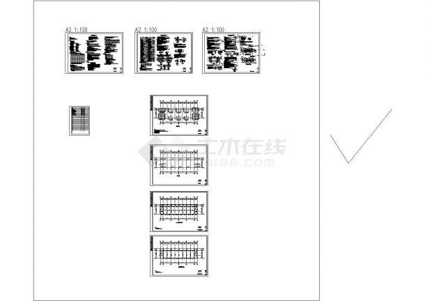 四层框架结构办公楼结构施工图纸-图一