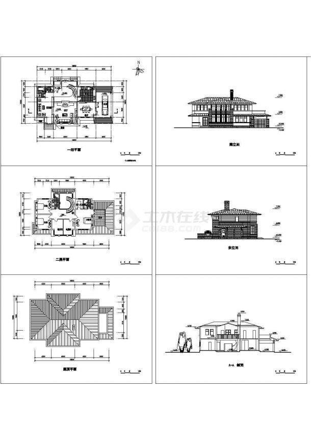 经典家园二层别墅建筑设计方案cad图纸,共6张-图一