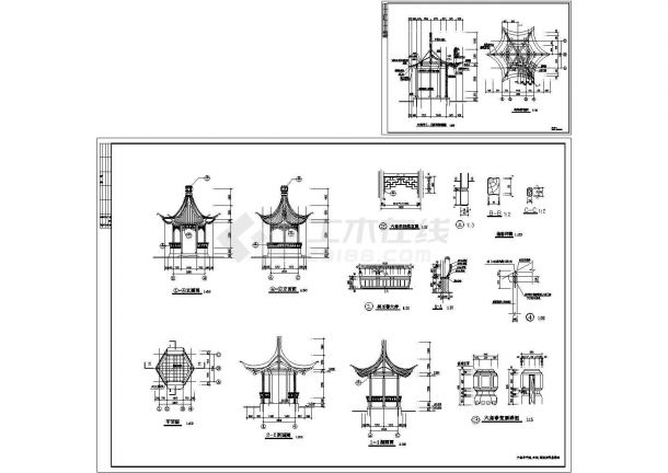 木结构六角亭结构设计施工图-图一