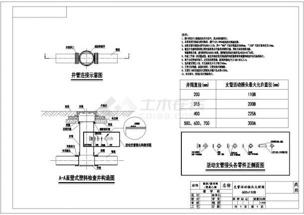 某塑料检查井-支管活动接头设计cad施工大样图(标注详细,含说明)-图一