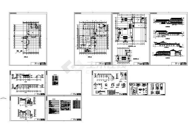 某地两层砖混结构仿古住宅建筑设计施工cad图纸设计-图二