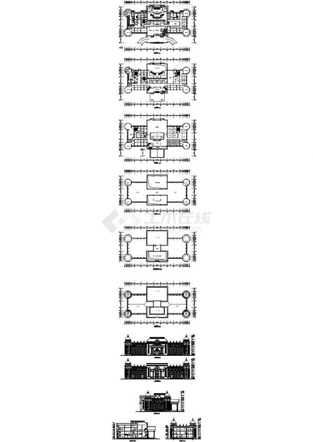 某三层欧式对称酒店建筑设计方案图纸-图一