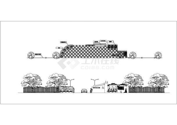 某公园次入口景观设计cad施工详图(甲级院设计)-图一