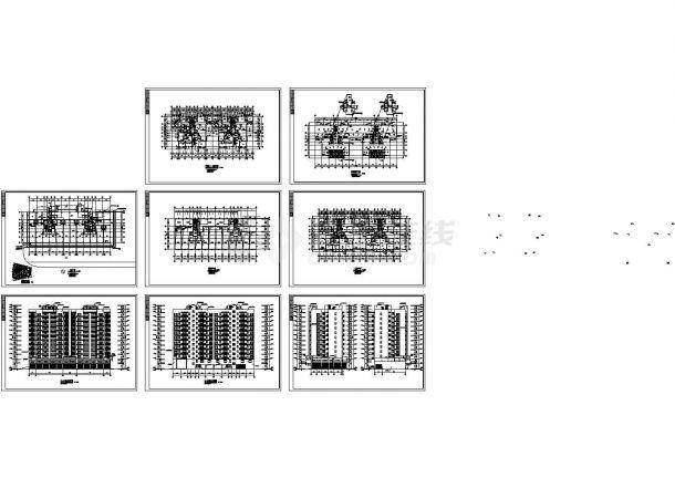 某两单元高层剪力墙结构住宅楼设计cad全套建筑施工图(含效果图)-图二