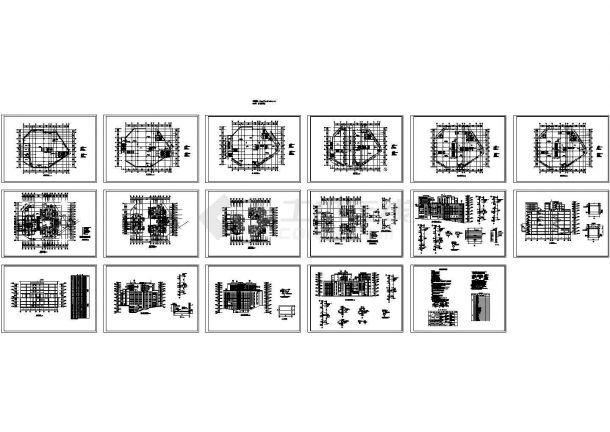七层农贸菜市场框架结构建筑施工cad图,共十七张-图一