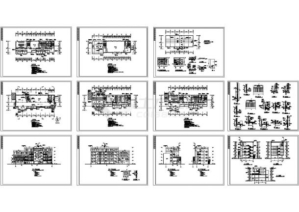 五层小学多功能教学楼建筑设计施工cad图,共十一张-图一