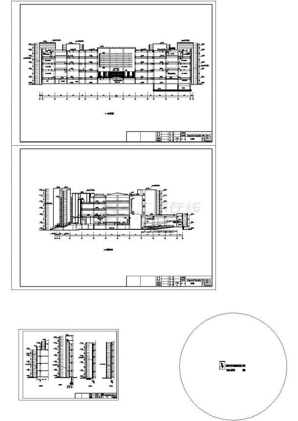 [大连]某大学图书馆石岛红石材干挂建筑施工图-图一